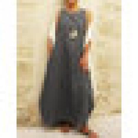 Solid color sleeveless o-neck women casual long maxi dress Sal