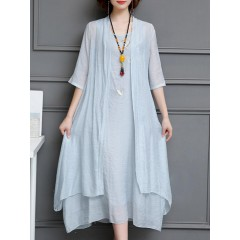 Vintage embroidery two pieces dress Sal