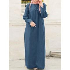 Women casual loose solid color o-neck long sleeve kaftan tunic denim dress Sal