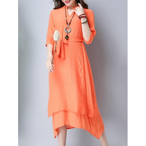 Women casual pure color half sleeve v-neck a-line dress with straps Sal