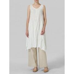 Women casual solid color sleeveless shirt dress Sal