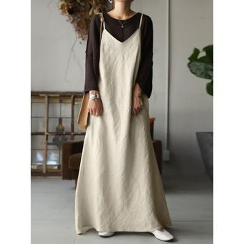Women cotton sleeveless v-neck adjustment straps maxi dress Sal