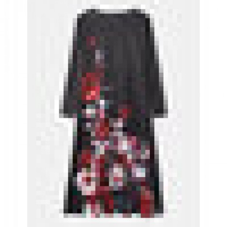 Women floral print round neck long sleeve casual maxi dresses Sal