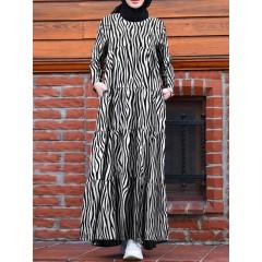Women irregular striped tiered long sleeve kaftan maxi dresses with pocket Sal
