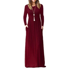 Women long sleeve loose solid casual long maxi dress with pockets Sal