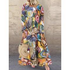 Women long sleeve o-neck floral print maxi dress Sal