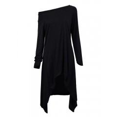 Women one shoulder irregular long sleeve loose t-shirt Sal