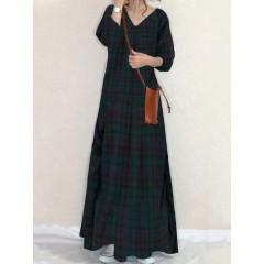Women plaid print v-neck thick regular fit long sleeve casual dress Sal