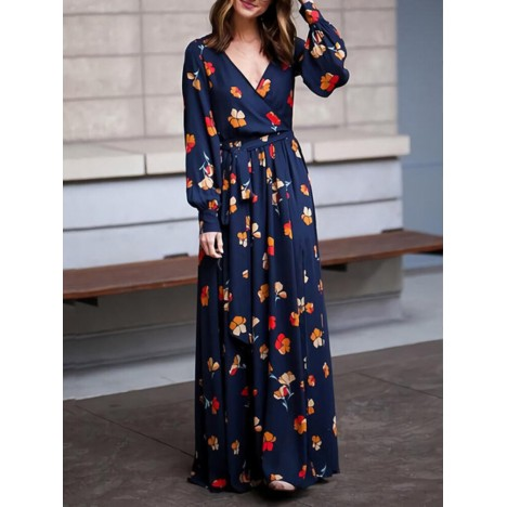Women printing v-neck wrap lace up casual long sleeve maxi dresses Sal
