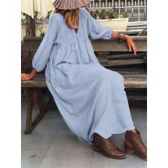 Women puff sleeve v-neck cotton plain casual maxi dresses Sal