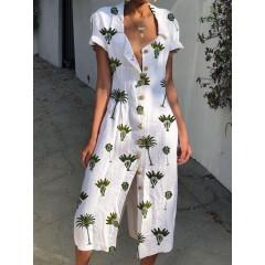 Women shirt collar floral print beach casual dress Sal
