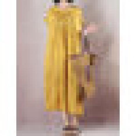 Women short sleeve pleated long shirt dress Sal