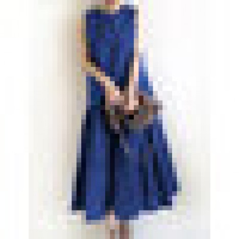 Women sleeveless solid color o-neck casual layered maxi dress Sal