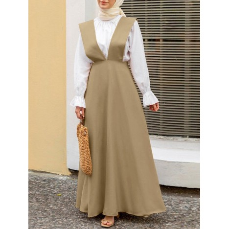 Women sleeveless solid color v-neck side zipper loose casual maxi dress Sal