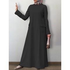 Women solid color o-neck long sleeve casual maxi dress kaftan tunic with pocket Sal