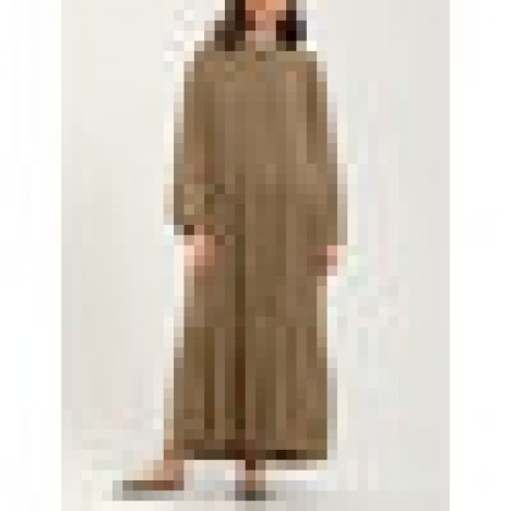Women solid color puff sleeve loose layered tiered casual maxi dress Sal