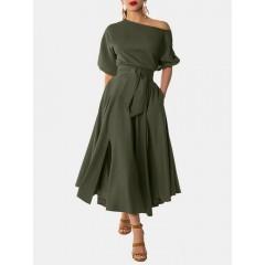 Women solid oblique shoulder lace up casual 3/4 sleeve maxi dresses Sal
