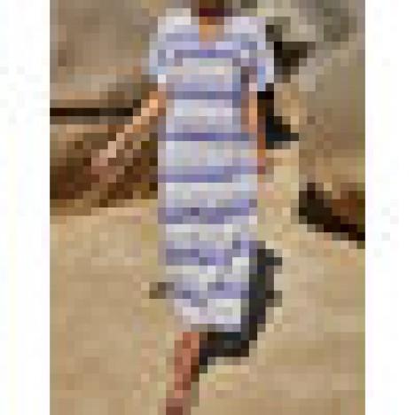 Women stripe loose slit hem v-neck short sleeve maxi dress Sal