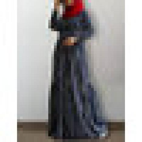 Women striped print button front o-neck long sleeve belted muslimdressabayakaftan Sal