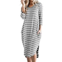 Women stripes 3/4 sleeves high low hem dress with pocket Sal