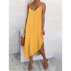 Women sunflower print button detail holiday casual diagonal hem sling dress Sal
