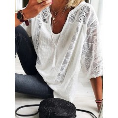 3/4 sleeve v-neck lace patchwork hollow casual blouse for women Sal