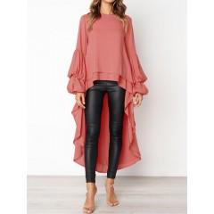 Casual women loose round neck long sleeve irregular hem blouse Sal