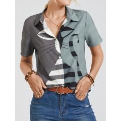 Cat stripe print short sleeve button lapel casual blouse for women Sal