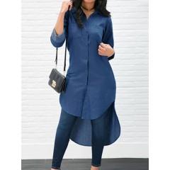 Long sleeve solid color high-low hem denim shirt dress Sal
