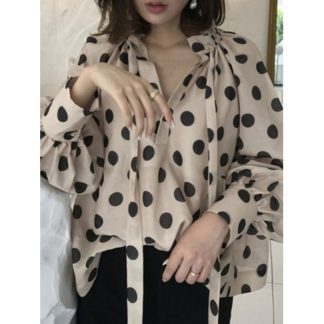 Polka dots printing lantern sleeve neckline bow tie casual blouse for women Sal