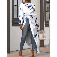 Print round neck long sleeve high low hem bohemia blouse for women Sal