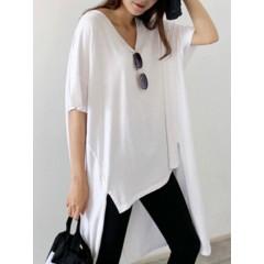 Pure color v-neck high low hem split short sleeve casual shirts for women Sal