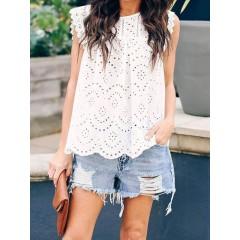 S-2xl womens sleeveless summer tank tops lace detail shirt Sal