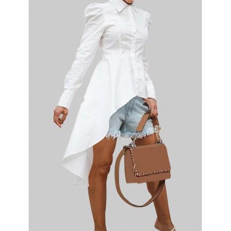 Solid color lapel button long sleeve high low hem basis shirt dress Sal