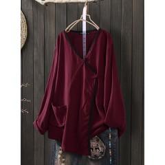 Solid cotton long sleeve irregular hem buttons blouse Sal