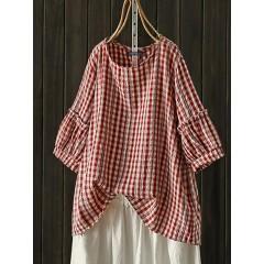Women casual plaid o-neck half sleeve blouse Sal