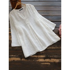 Women casual solid v neck cotton 3/4 sleeve blouse Sal