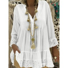 Women lace patchwork v-neck ruffle loose blouse Sal