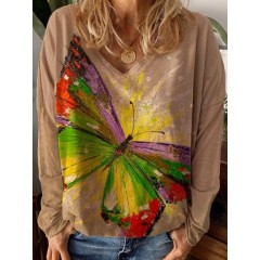 Women large butterfly printed v-neck casual long sleeve blouses Sal