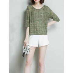 Women loose hollow half sleeve knit irregular hem tops Sal