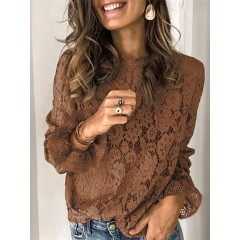 Women solid color elegant round neck long sleeve lace blouses Sal