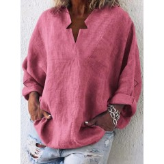 Women solid color v-neck loose blouse with pockets Sal