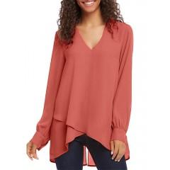 Women solid color v-neck puff sleeve asymmetrical hem long sleeve blouse Sal