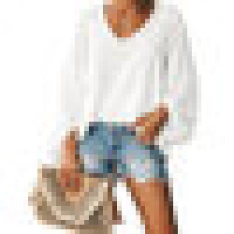 Women v neck casual lantern sleeve loose tops shirts Sal