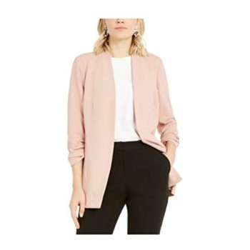 Alfani Ruched-Sleeve Open-Front Blazer Pottery Clay L Pink