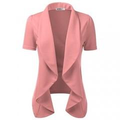 Doublju Womens Lightweight Thin Short Sleeve Open Front Blazer with Plus Size Mauve 2XL