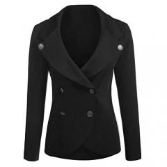 ELESOL Womens Casual Work Knit Blazer Jacket Lapel Longline Blazer Black