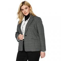 Kasper Women's 1 Button Notch Collar Plaid Jacket