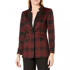 Kasper Women's 1 Button Stand Collar Large Windowpane Jacket