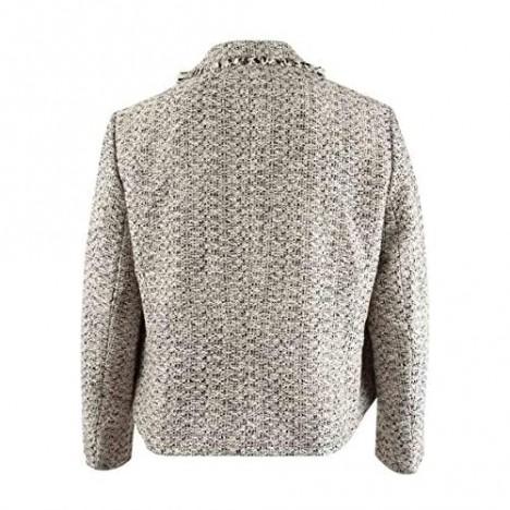 Kasper Women's Framed Shirt Collar Tweed Jacket with 2 Pocket Detail